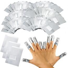 100 sztuk z 50 sztuk Aluminium folia Remover okłady z acetonu do paznokci Soak Off żel akrylowy do paznokci polski usuwanie