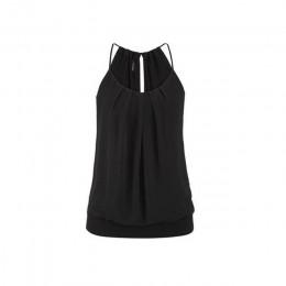 Kobiety lato Crop luźne pomarszczona O Neck Cami Tank Tops kamizelka bluzka Haut Femme damskie odzież Crop Top et chemisier femm