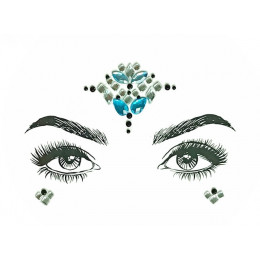 1 PC boże narodzenie DIY brwi twarzy Body Art samoprzylepne kryształki brokatu klejnoty festiwal Party oczu naklejki z tatuażami