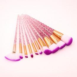 10 sztuk niebieski fioletowy pędzle do makijażu z motywem jednorożca zestaw Powder Eyeshadow fundacja pędzel do ust kryształ dia