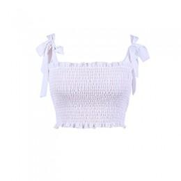 2018 lato zakrętka tubki kobiety Sexy gorset koszulki kobiece pasek Ruched zbiornik topy elastyczne krótki top na ramiączkach st