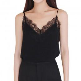 Bielizna damska satynowy top z koronką na ramiączkach beżowa czarna modna zwiewna luźna