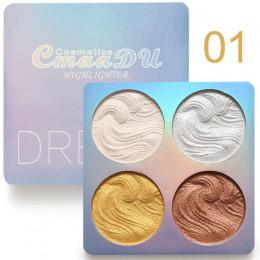 Cmaadu blask zestaw 4 kolor pieczone paleta Shimmer oświetlacz konturowania rozjaśnić 3D puder do makijażu twarzy Bronzer
