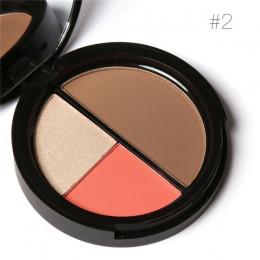 FOCALLURE 3 kolory Shimmer bronzery i zakreślacze do makijażu w proszku róż do policzków wyróżnienia dla paleta Contour