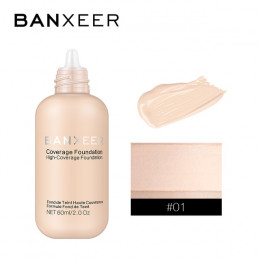 BANXEER fundacja 60 ml, matowa, długotrwała, pełna korektor fundacja Płyn do makijażu krem naturalny baza makijaż