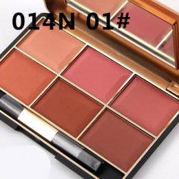 Profesjonalny makijaż róż do policzków długotrwałe 6 kolor Minerals proszek twarzy w stylu Retro bazy rumieniec bronzery konturo