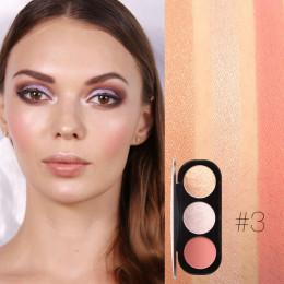 FOCALLURE nowy Arrivel 3 kolory rumieniec i paleta twarzy matowy wyróżnienia proszek podświetlany rumieniec w proszku