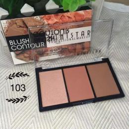 Makijaż 3 kolory Shimmer względu na Blush Bronzer kontur twarzy paleta róży w proszku wyróżnienia sprawiają, że Upxgrj