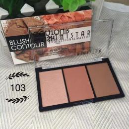 Makijaż 3 kolory Shimmer względu na Blush Bronzer kontur twarzy paleta róży w proszku wyróżnienia makijaż