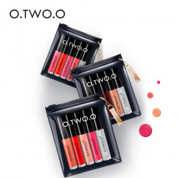 O.TWO.O 5 sztuk zestaw błyszczyków aksamit cieczy szminka profesjonalny makijaż matowy szminka wargi zestaw trwałe kosmetyki Maq