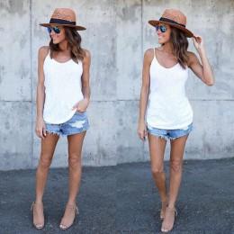 Bez rękawów kobiety lato na co dzień kamizelki damskie topy T-shirt Spaghetti pasek luźna kamizelka kobiet Camis moda na co dzie