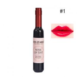 Butelka czerwonego wina kształt wargi odcień połysk różowy Sexy wargi wodoodporne kobiety Batom płyn szminki błyszczyk nawilżają