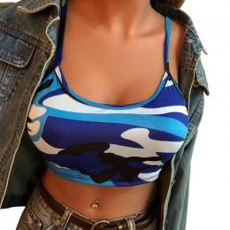 Niebieski szary zielony kamuflaż krótki Crop topy kobiety 2018 Cami kobiet topy Sexy Backless top bez rękawów kobiety lato w sty