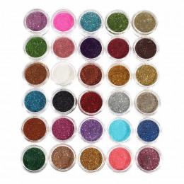 30 sztuk mieszane kolory Pigment w proszku brokat mineralny Spangle cień do powiek makijaż kosmetyki zestaw makijaż Shimmer błys
