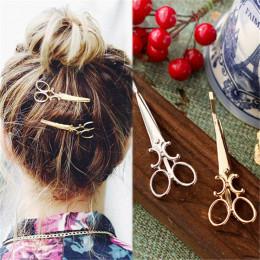 Akcesoria do włosów ozdoba spinka klamra nożyczki złota srebrna biżuteria modna efektowna glamour