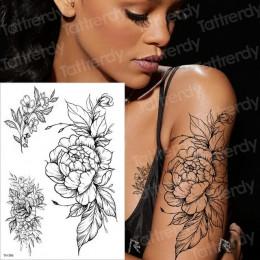 Tymczasowy tatuaż czarny kwiat rękaw naklejka wodoodporna piwonia róża