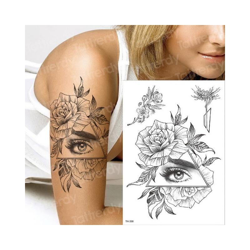 Tymczasowy Tatuaż Czarny Kwiat Rękawy Tatuaże Transferu Wody