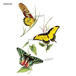 HXMAN akwarela motyl tymczasowa naklejka tatuaż wodoodporna kobiety fałszywe tatuaże mężczyzn dzieci Body Art gorący projekt 9.8