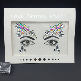 Masquerade twarzy dekoracje DIY biżuteria akrylowe Rhinestone festiwal Party tymczasowy tatuaż moda naklejki na twarz dla kobiet