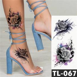 Transferu wody ciemny powitalny atramentu realistyczne róże tymczasowa naklejka tatuaż ramię nogę do tyłu wzór body art wodoodpo
