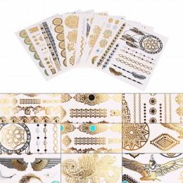 9 sztuk arkusze naklejki z tatuażami tymczasowy tatuaż jednorazowe metaliczny złoty srebrny czarny Flash tatuaż akcesoria naklej
