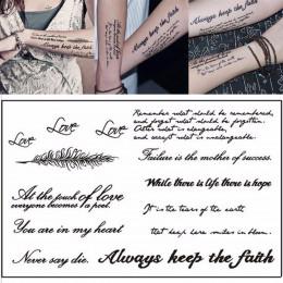 1 arkusz tymczasowe angielskie słowo naklejki z tatuażami czarne litery pióro tatuaże Body Art wodoodporne na tymczasowe tatuaże