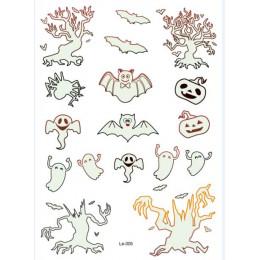 Rocooart Halloween Luminous tatuaż duch Taty dla dzieci fałszywy tatuaż Witch świecące w ciemności wodoodporny tymczasowy naklej