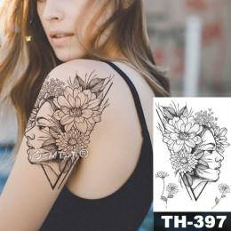 Geometryczne kwiat róży oko pozostawia wodoodporna tymczasowa naklejka tatuaż diamentowy piwonia czarne tatuaże Body Art ramię f