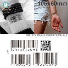 Body Art Sex wodoodporne tymczasowe tatuaże dla mężczyzn i kobiet indywidualność 3d kodów kreskowych projekt tatuaż naklejki hur