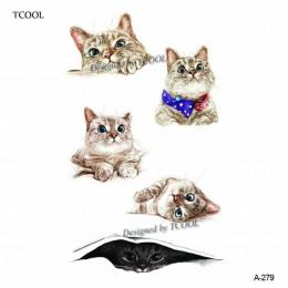 HXMAN kot tymczasowy tatuaż naklejki akwarela zwierząt tatuaże dla kobiet Body Art dziecko dziewczyny ręcznie fałszywy tatuaż 9.