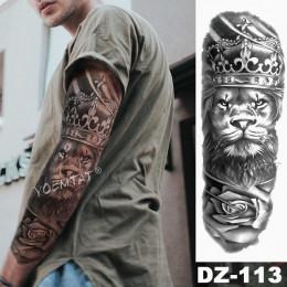 Tymczasowy tatuaż rękaw Lew korona król róża wodoodoporny naklejki tygrys mężczyźni czaszka wilk