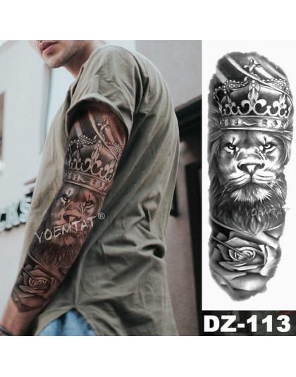 Duże Ramię Tatuaż Rękaw Lion Korona Król Róża Wodoodporna Tymczasowy Tatuaż Naklejki Dziki Wilk Tiger Mężczyźni Pełna Czaszka To