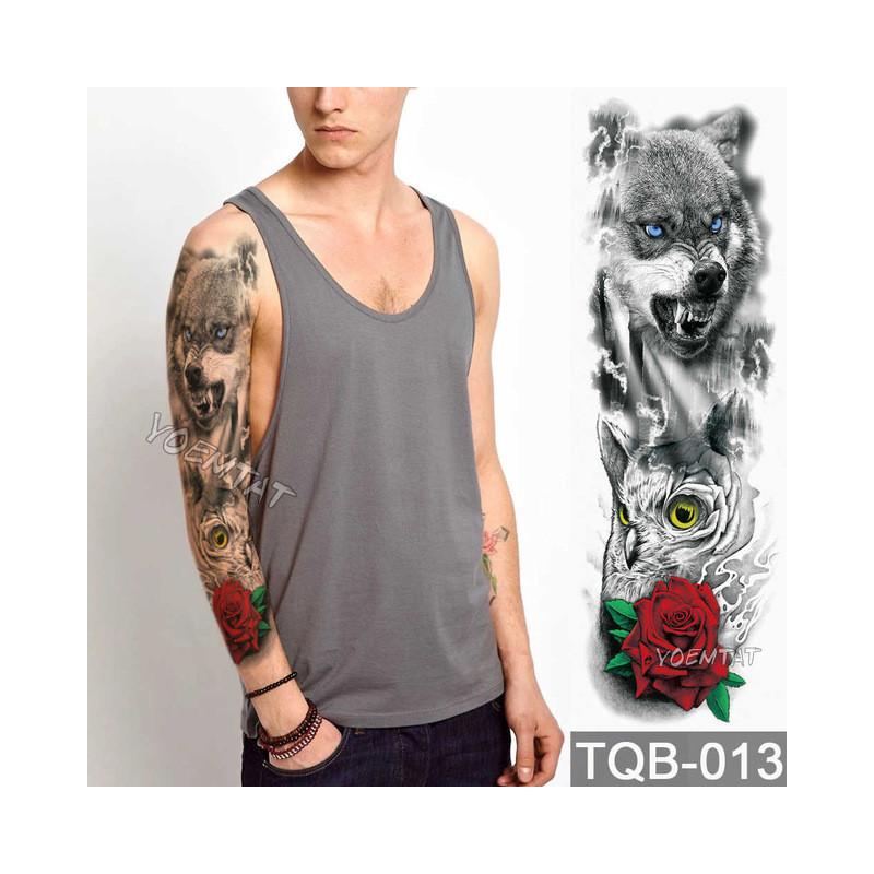 Duże Ramię Tatuaż Rękaw Lion Korona Król Róża Wodoodporna