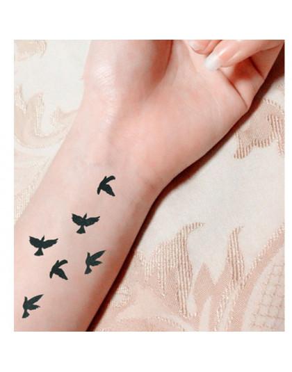 Kobiety Sexy Palec Nadgarstek Flash Fałszywy Naklejki Z Tatuażami Wolność Małe Ptaki Latać Projekt Wodoodporna Tymczasowe Tatuaż