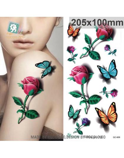 Body Art Wodoodporna Tymczasowa Naklejka Tatuaż Dla Kobiet Piękne 3d Kolory Motyl Róża Duże Ramię Tatoo Hurtownia Qc2609