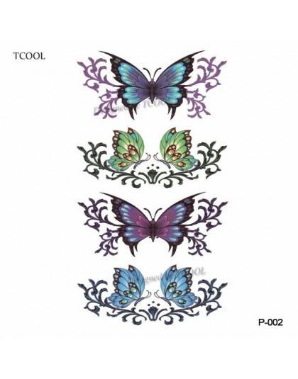 Hxman Kwiat Motyl Tymczasowe Tatuaże Dla Kobiet Ręcznie Tatuaż Naklejki Dorosłych Body Art Wodoodporna Arm Fałszywy Tatuaż 105x