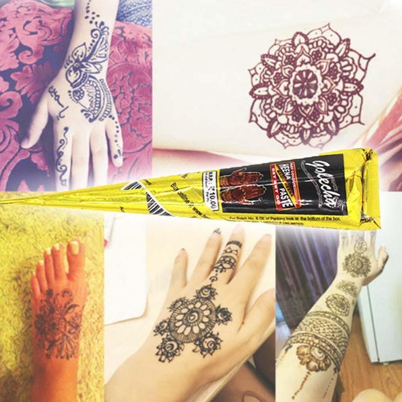 Hinduska Henna Tatuaż Wklej Czarny Wodoodporny Tymczasowy