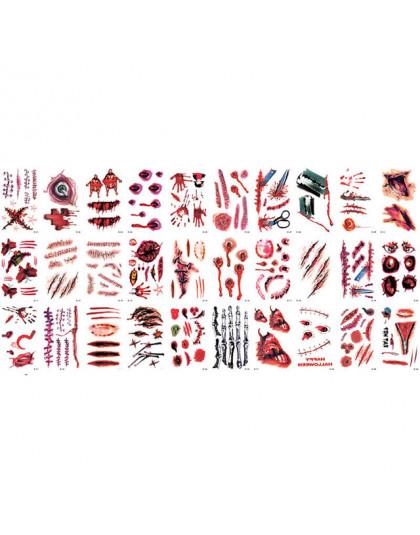 30 Sztuk Halloween Wodoodporne Tymczasowe Tatuaże Dla Pani Kobiet 3d Rzeczywistości Wampirzej Krwi Blizny Projekt Tatuaż Naklejk