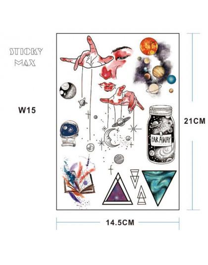 W15 1 Sztuka Kosmos Universe Tymczasowy Tatuaż Z Miejsca Geometryczne Planeta Astronauta Wzór Malowania Ciała Tatuaże