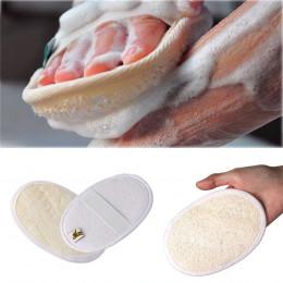 1 pc miękki złuszczający Loofah gąbka naturalna pasek Uchwyt prysznicowy szczotka do masażu skóry ciała kąpieli akcesoria do myc