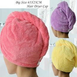 25x65 cm kobiety czepek kąpielowy Super chłonne szybkoschnąca ręcznik z mikrofibry turban do suszenia włosów Salon Showl żel nar