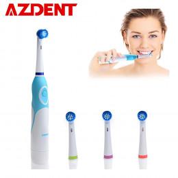 AZDENT elektryczna obrotowa szczoteczka do zębów na baterie z 4 końcówki do szczoteczek higieny jamy ustnej produkty zdrowotne n