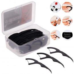 50 sztuk/pudło bambusa węgiel czarny nić dentystyczna zębów Stick wykałaczka szczoteczki interdentalne, zęby czyste wykałaczka F