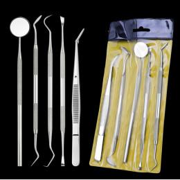 AMSIC 5 sztuk Dental lustro zestaw narzędzi dentystycznych ze stali nierdzewnej usta lustro zestaw dentystyczny Instrument Denta