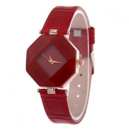 Kobiety zegarki Gem cięcia geometria kryształ skórzana sukienka zegarek kwarcowy zegarek mody panie prezenty zegar Relogio Femin