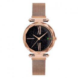Luksusowych wzrosła złoty zegarek damski magnes gwiaździste niebo zegarek na rękę dla pań kobiet zegarek wodoodporny reloj mujer