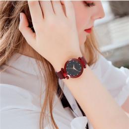 Kobiety Starry Sky zegarek luksusowe magnetyczne klamry opaska siatkowa kwarcowy zegarek na rękę kobiet złota róża zegarki diame