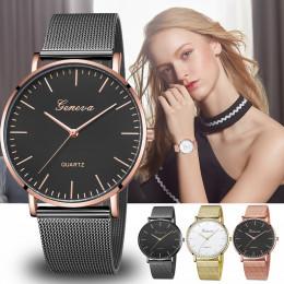 Nowoczesne moda czarny zegarek kwarcowy mężczyźni kobiety siatki ze stali nierdzewnej pasek do zegarków wysokiej jakości zegarek