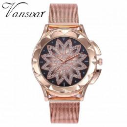 Moda kobiety różowe złoto kwiat zegarki na rękę z kryształkami luksusowe Casual zegarki dla kobiet kwarcowe zegarek Relogio Femi