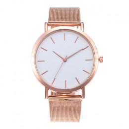 Zegarki damskie różowe złoto proste mody kobiet zegarek na rękę luksusowe zegarek dla pań kobiety bransoletka Reloj Mujer zegar